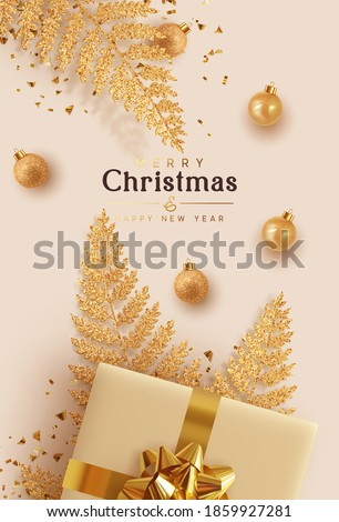 Merry Christmas and Happy New Year. Xmas background design realistic gifts box, golden fern branches, bauble ball. Christmas poster, holiday banner, flyer, stylish brochure, greeting card. #1859927281