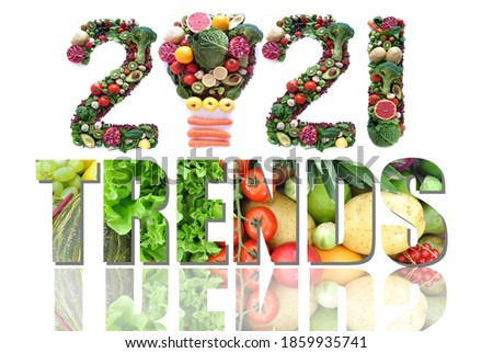 2021 trends made of fruits and vegetables including a light bulb icon Royalty-Free Stock Photo #1859935741