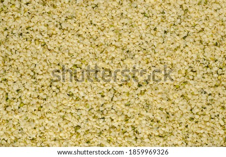 Hulled hemp seeds. Surface and background of raw and edible hempseeds.  Cannabis sativa, high in complete protein and a great source of iron. Macro, food photo, top view, from above. Backdrop.