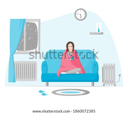 Freezing woman in cold apartment in winter. Girl wrapped in blanket sits on sofa. Using radiator and heater when cold inside. Self isolation on cold depressing weather. Flat style vector. #1860072385