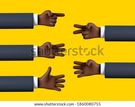 3d render, black skin hand shows fingers, african cartoon character counting from one to five, business clip art set isolated on yellow background