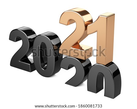 2020 2021 change concept. Represents the new year black and golden symbol symbol. 3D illustration isolated on white background.