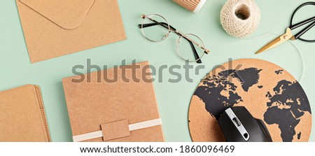 Recycable stationary and office eco friendly, plastic free supplies, home office desktop organisation, work from home, online business idea. Flat lay, top view