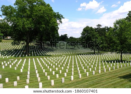 A view of Arlington National Cemetery in summer Royalty-Free Stock Photo #1860107401