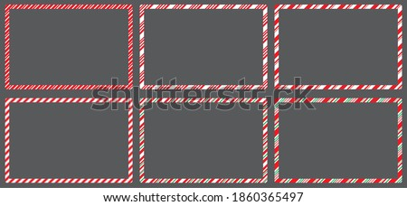 Candy cane  frames  set christmas. Collection of Xmas striped border with copyspace. Rectangle background for banner or christmas card. Vector, holiday wallpaper illustration.  Royalty-Free Stock Photo #1860365497