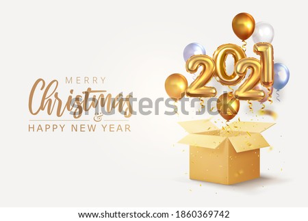 Large box with 2021 numbers flying out balloons and confetti. Merry Christmas and Happy New Year greetings. Discounts, sales and gifts. Volumetric vector design  #1860369742