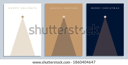 Set of Christmas Card Designs with Simple Geometric Christmas Tree Illustration. Modern Luxury Christmas Cards with Merry Christmas, Season's Greetings, Happy Holidays Text. Vector Design template.  Royalty-Free Stock Photo #1860404647