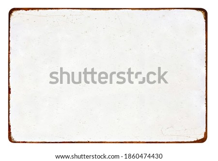 Antique vintage rusty enameled grunge metal sign or panel mockup or mock up template isolated on white background. Including clipping path Royalty-Free Stock Photo #1860474430