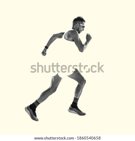 Runner, strong jogger. Young caucasian sportsman isolated on studio background, modern artwork. Healthy lifestyle, movement, action, motion, advertising and sports concept. Abstract trendy design. Royalty-Free Stock Photo #1860540658