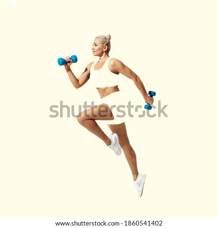 Fitness, athletic. Young caucasian sportswoman isolated on studio background, modern artwork. Healthy lifestyle, movement, action, motion, advertising and sports concept. Abstract trendy design. Royalty-Free Stock Photo #1860541402