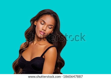 Beauty styled portrait of a young African American woman. makeup. Fashion black girl with curly hair posing in the studio on a  turquoise background. isolated. Studio shot.                            Royalty-Free Stock Photo #1860647887