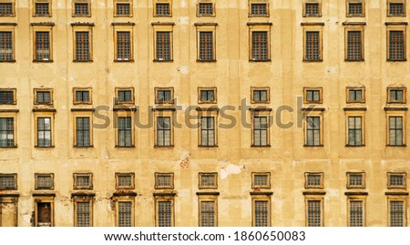 Front view to the windows of the old Plumlov castle builded in Baroque architecture style in Plumlov town, Moravia, Czech Republic #1860650083