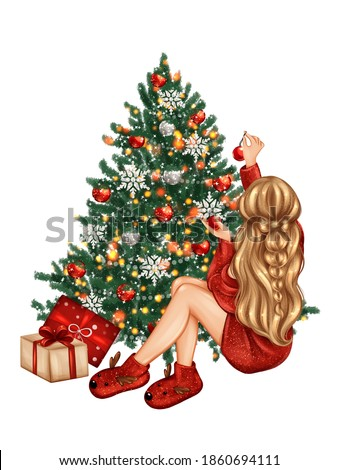 Beautiful girl decorating Christmas tree. Hand drawn Christmas illustration