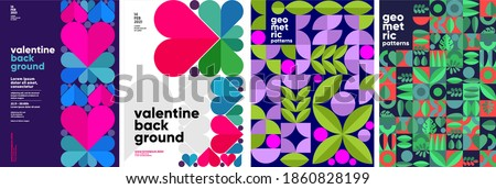 Set of vector posters or event banner. Valentine's day posters, valentines with abstract, geometric background. Geometric prints, geometric patterns.  #1860828199