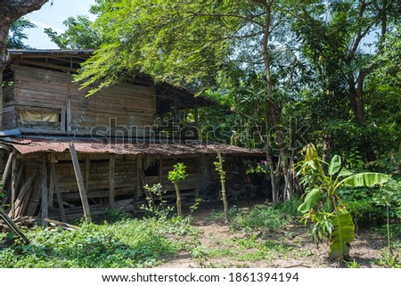 an old rustic shack by the woods #1861394194