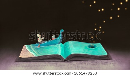 Education learning dream and  inspiration concept, boy with imagination book. surreal painting. Fantasy art, conceptual artwork, happiness of child illustration
