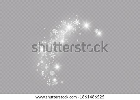 Glow effect. Vector illustration. Christmas dust flash. Snow is falling. Snowflakes.