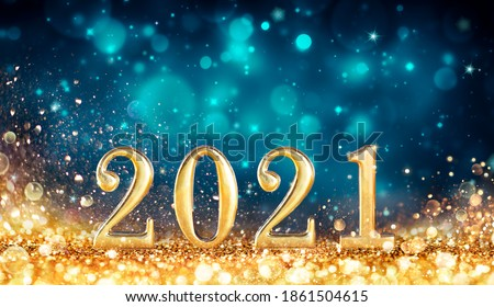 Abstract Card With Colors Trend - Happy New Years 2021 -  Metal Number With Golden Glitter #1861504615