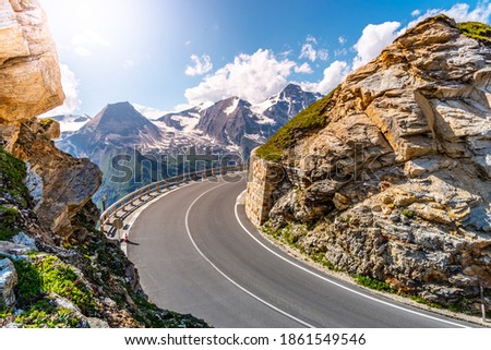 Grossglockner High Alpine Road, German: Grossglockner-Hochalpenstrasse. High mountain pass road in Austrian Alps, Austria. Royalty-Free Stock Photo #1861549546