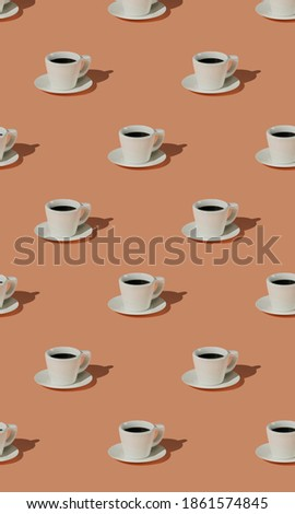 3d illustration of a beautiful pattern with a white cup of coffee on a pastel background
