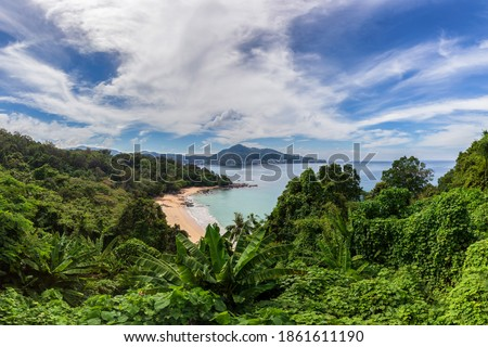 Beautiful views point that offers a panoramic view of the sandy beaches of Phuket Island on sunny days, Phuket, Thailand Royalty-Free Stock Photo #1861611190