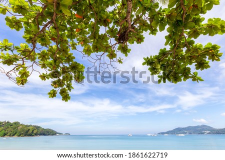 Beautiful nature of the Andaman Sea and white sand beach in the morning at Patong Beach, Phuket Island, Thailand. Nature and travel concept Royalty-Free Stock Photo #1861622719