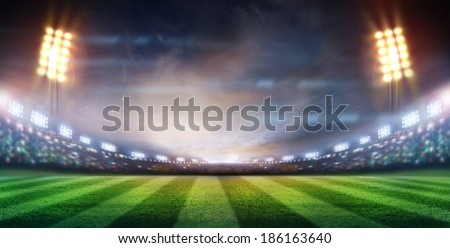 lights at night and stadium Royalty-Free Stock Photo #186163640