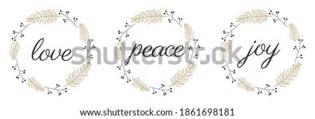 Love peace joy calligraphy inscription on a white background. Vector illustration. Royalty-Free Stock Photo #1861698181
