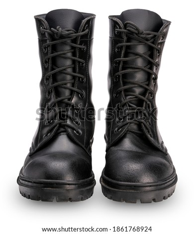 Black leather Combat Shoes isolated on white background With clipping path, Shiny polished black leather soldiers Combat Shoes Royalty-Free Stock Photo #1861768924