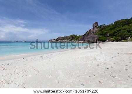 Beautiful nature of the islands in the Andaman Sea during the absence of tourists due to the Coronavirus disease (COVID-19) at Similan Islands, Mu Ko Similan National Park, Phang-nga, Thailand Royalty-Free Stock Photo #1861789228