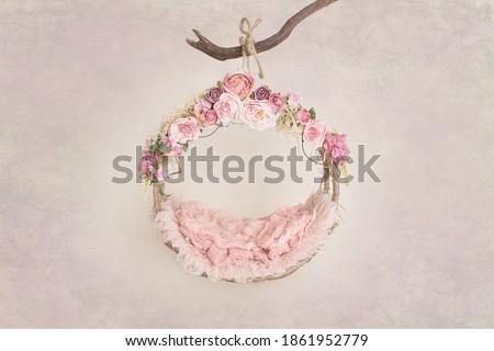 Newborn digital backdrop with flowers