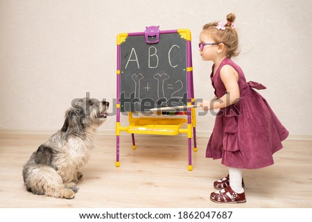 a little girl teacher in a dress and glasses teaches a dog to read and count. She writes letters and numbers on the blackboard. The little girl scolds her dog for being a bad student. Royalty-Free Stock Photo #1862047687