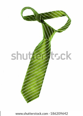 Green tie / studio photo of men's business tie - isolated on white background  #186209642