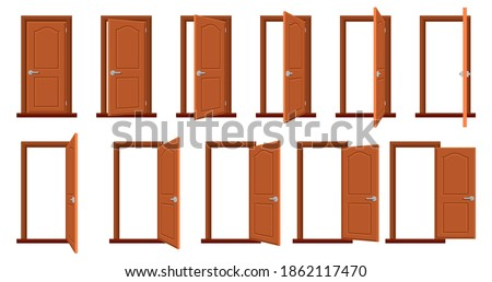 Door animation. Opened and closed wooden doors, sprite animation house entrance. Wood door in different position isolated vector illustration set. House facade or room entry isolated collection Royalty-Free Stock Photo #1862117470