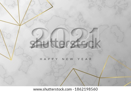 Happy New Year 2021 greeting card illustration. Luxury 3d white marble inscription sign with elegant geometric gold frame. Party invitation template, engraved number date design for VIP celebration. #1862198560