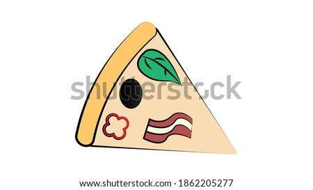 Salami pizza slice. clip art illustration with simple gradients. All in a single layer.