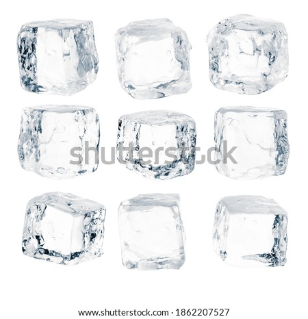Set of pieces of pure blue natural crushed ice. Ice cubes. Clipping path for each cube included. Royalty-Free Stock Photo #1862207527