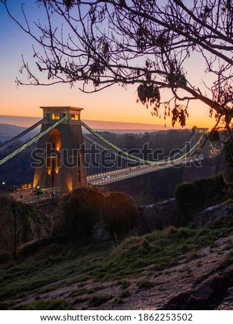 Sunset twilight view of Clifton Suspension Bridge in the evening Royalty-Free Stock Photo #1862253502