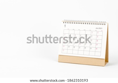January month, Calendar desk 2021 for organizer to planning and reminder on white background. Business planning appointment meeting concept Royalty-Free Stock Photo #1862310193