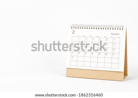 February month, Calendar desk 2021 for organizer to planning and reminder on white background. Business planning appointment meeting concept Royalty-Free Stock Photo #1862316460
