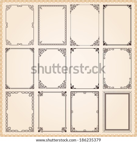 Decorative vintage frames and borders set vector Royalty-Free Stock Photo #186235379