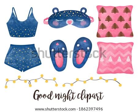 Cozy home clipart, Sleep mask, Pajamas, Sleepwear, pink pillows, Slippers, bear sleep mask, cute home set, Good night clipart, hand drawn illustration, winter mood, Planner sticker, Girls set