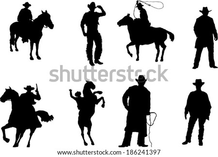 The set of cowboy silhouette #186241397