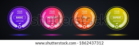 Certified badge logo design for company training badge. Certificates to determine based on criteria. Set bundle certify colorful modern vector illustration. Royalty-Free Stock Photo #1862437312