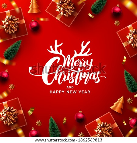 Merry Christmas and Happy New Year Promotion Poster or banner with red gift box and christmas element for Retail,Shopping or Christmas Promotion in red and gold style. #1862569813