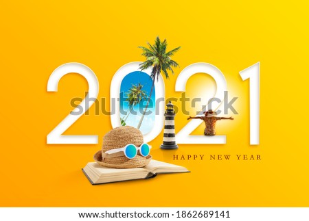Happy new year 2021. Happiness and travel destination concept. Royalty-Free Stock Photo #1862689141