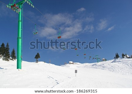Empty ski slope and chair lift #186269315