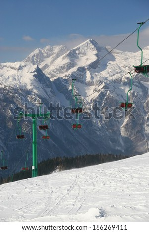 Empty ski slope and chair lift #186269411