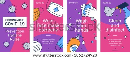 Covid19 Prevention hygiene rules infographic banner, story size social media, brochure template