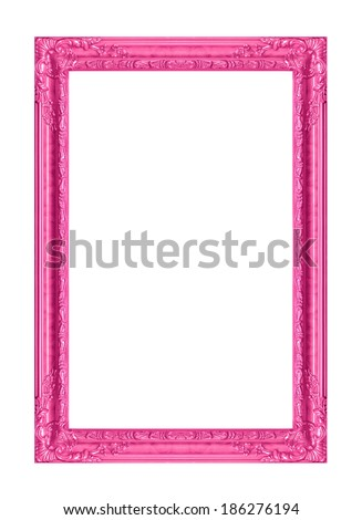 The antique pink  frame on the white background